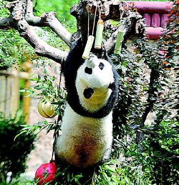 萌一脸!大熊猫雅吉花式吃粽子