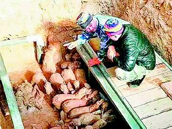 山东省一汉墓挖出人马俑 堪称出